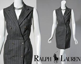 90s Ralph Lauren grey wool pinstriped wrap dress | size extra small