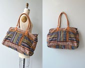 Iximche woven weekender   vintage woven duffel bag   large cotton travel bag