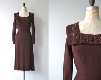 Rembrandt crepe dress | vintage 1930s dress | beaded 30s dress