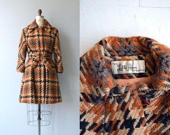 Lilli Ann wool coat | vintage Lilli Ann coat | plaid wool 60s belted trench coat