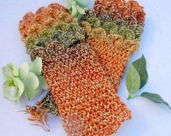 Crcohet Dragonscale Fingerless Gloves, Glittering Aurora Dawn Color