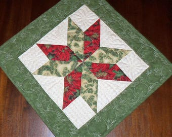 Holiday Christmas, Table Mat, Quilted Table Runner, Fabric Centerpiece, 17x17 Inches, Machine Quilted, Evening Star