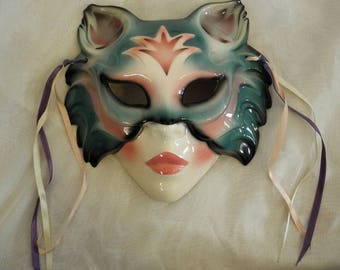 Vintage wall mask Clay Art 1980s porcelain cat mask wall décor