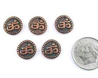 TierraCast Pewter Om Coin Charms-2-SIDED Copper OHM AUM (5)