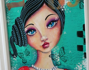 SIDE PONY girl 9 x 12  ORIGINAL on canvas panel