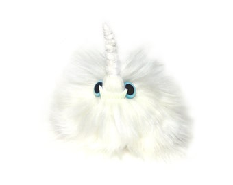 Unicorn Puff Keychain Faux Fur Monster Bag Charm Glow-In-The-Dark Fangs (Keychain or Bag Charm Option)