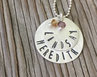 Custom stamped name pendant personalized hand stamped sterling layered discs crystal birthstones- Mom, grandma, new mother gift, handmade