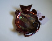 Kitty Raku fired jewelry tray with FREE set of earrings