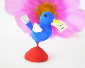 Vintage Miniature Wood Blue Bird Love Letter or Valentine Vibrant Blue Bird on stand, Tiny bird Painted Wood figurine made in Italy 1950