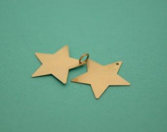 2 LARGE STAR silver based charm pendants