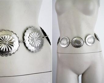 Vintage Silver Tone Lightweight  Concho Adjustable Belt
