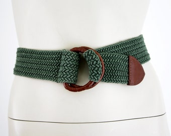 Vintage Green Woven Wide Belt