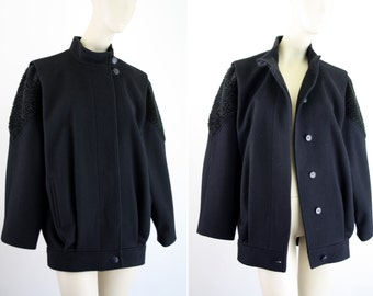 Fashions By Jill Black Vintage Wool Woman's 80's Batwing Jacket Coat Outerwear Made in USA