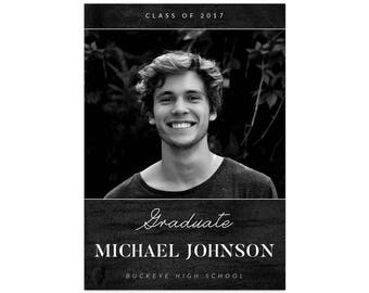 Instant Download Gradation Announcement Male Graduation Black and White Graduation PSD Template For Photographers DIY Invites Photo Cards