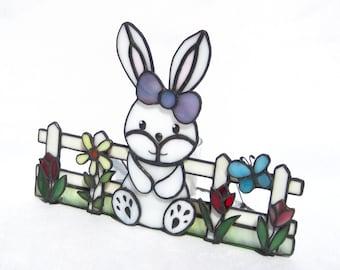 Easter Decoration Easter Bunny Stained Glass Tea Light Holder Spring Flowers Candleholder Bunny Rabbit Candleholder Easter Stained Glass