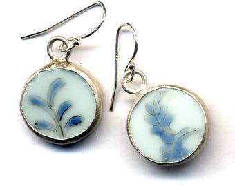 Earrings made with Antique Porcelain, Small Blue and White Pattern Sterling Silver Ear wire - ooak earrings by AnnaArt72