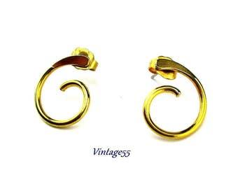 Earrings Curled Gold tone Pierced Post Avon