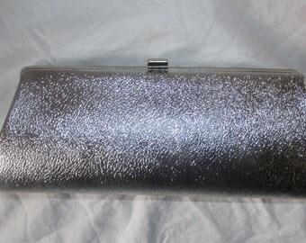 Vintage Metallic Silver Purse Metallic Silver Vintage Handbag Chain Handle Convertible Bag Vegan Friendly Handbag Evening Bag 70s Purse