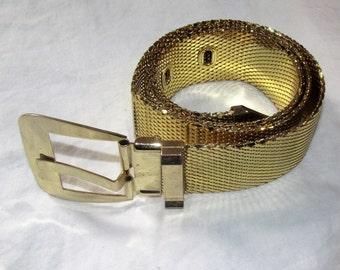 Vintage Whiting and Davis Gold Mesh Belt Wide Metal Belt Vintage Metallic Belt Signed Womans Accessories