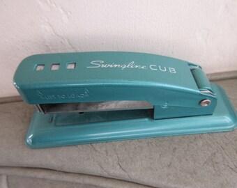 Vintage Stapler, Swingline Stapler, Teal Swingline Cub, Small Stapler, Office Accessory, Vintage Office Supply, Small Teal Blue Stapler