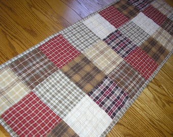 Quilted Table Runner,  Homespun Runner in Browns and Reds, 13 1/2 x 38 inches