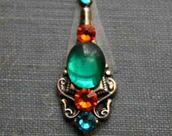 Tropical Bindi - ATS, Tribal, Fusion, Belly Dance, Facial Jewelry, Third Eye, Orange, Green