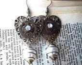 Riveted Gears Rhinestone Heart Steampunk Vintage Caged Pearl Earrings  Regency Era Aged Brass