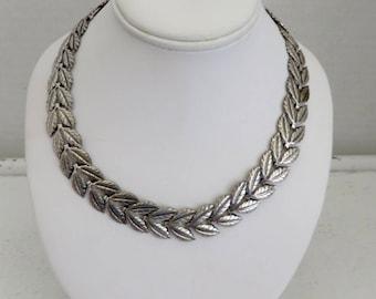Vintage Sterling Silver Signed Danecraft Double Leaf Necklace
