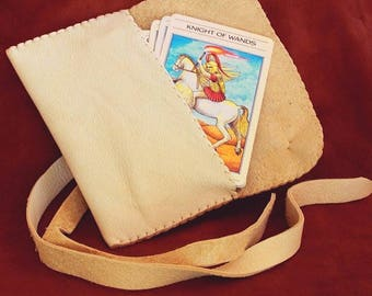 Leather Tarot Bag....Cream...Smooth