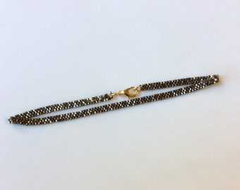 "Antique Gold Luster Beaded Mesh Band Anklet - Ankle Bracelet 10"""