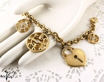 Givenchy Designer Charm Bracelet - Heart Lock & Oriental Style - Marked Vintage Jewelry