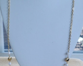 """On Sale Pretty Vintage Faux Pearl, Gold tone Beaded Chain Necklace, 36"""" (A16)"""