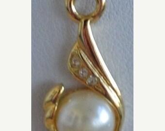 """On Sale Pretty Vintage Faux Pearl Pendant Necklace, 16"""""""