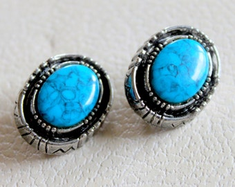 ART Signed Turquoise Earrings Vintage Southwest Clip on