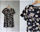 90s SILK Dress Vintage Midnight Blue & Cream Floral Dress Silk Mini Dress Flower Print Sheath Preppy Revival Casual Slip Dress XS Small