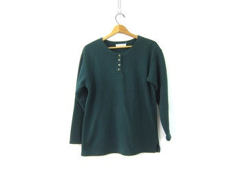 vintage pullover Sweatshirt Green Button Neck Henley Tunic Top Preppy Hipster INDIE Girl Thermal Shirt Basic Fall Sweater Women's size Large