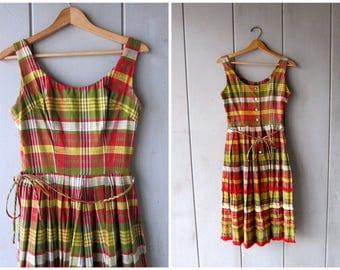 1950s Plaid Dress Vintage 50s Sundress Full Skirt Red Green Yellow Thick Cotton Sleeveless Sun Dress Fringe Dress Vintage Womens Small