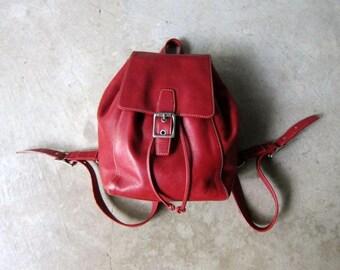 Red Leather COACH Backpack 90s Rucksack Flap Over Shoulder Purse Hipster Leather Bag Vintage School College Pack Leather Slouchy Knapsack
