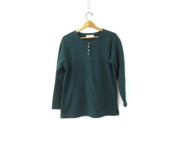 vintage pullover Sweatshirt Green Button Neck Henley Sportswear Sweater Hipster Thermal Shirt Basic Sporty Sweater Women's size Large