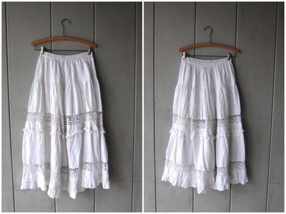 White Cotton Skirt Cut Out Bali Skirt Embroidered Lace Midi Skirt Cutwork Hippie Boho Skirt Basic White Skirt Vintage 90s SMALL Medium