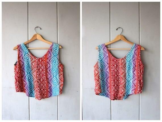 80s Tribal Tank Top Camisole Crop Top Boho Shirt Womens 1980s Batik Print Cropped Tank Top Bohemian Bali Girl Vintage Small