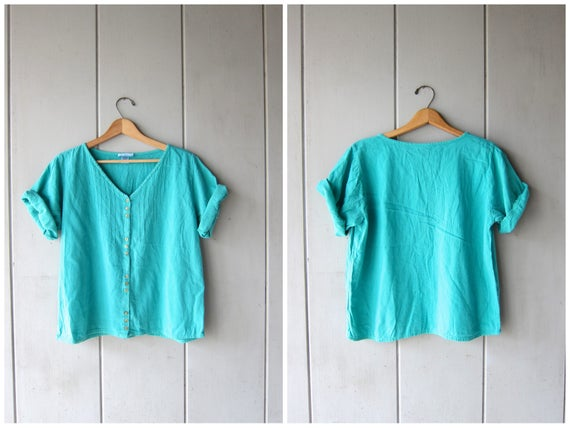 Green Blue Thin Cotton Blouse Cropped Minimal Top Button Up Short Sleeve BOXY Tee Natural 90s Modern Basic Top Vintage DES Womens Medium