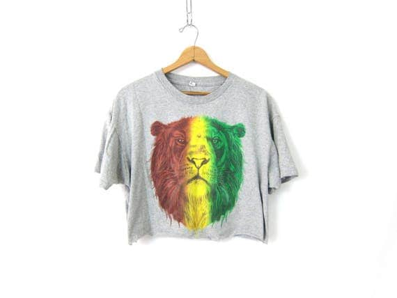 Cut Off Cropped TShirt LION Print gray Tee Shirt Grunge Tee Crop Top Animal Top Vintage Size XL Extra Large dells