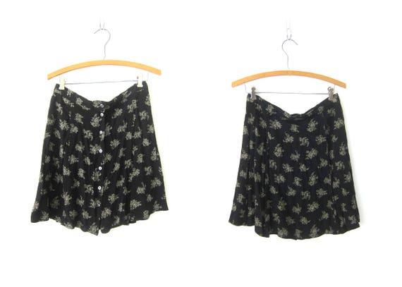 Black Mini Skirt High Waist Preppy Button Front GAP 1990s Hipster Skirt Short Black and White Flower Print Women's Skirt Size Medium