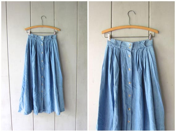 80s Jean Skirt Light Blue Long Denim Midi Skirt with Buttons Up the Front Bohemian Cowgirl High Waist Cotton ALine Skirt Vintage XS Small