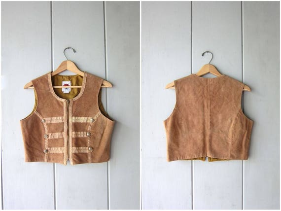 Brown Suede Vest Top Vintage 80s Cropped Leather Emblem Jacket Military Marching Band Coat Punk Bolero Jacket Boho Hipster Women XS Small