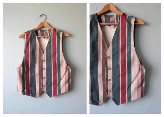 1990s Jean Vest Top Vintage Vest Earthtone Blue Tank Red Stripe Print 1980s Denim Preppy Layer Tank Vest Women's Size Medium