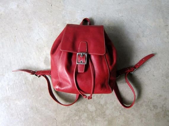 Red Leather COACH Backpack 90s Rucksack Flap Over Shoulder Purse Hipster Leather Bag Vintage School College Pack Leather Slouchy Knapsack