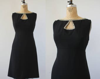 vintage 1960s dress / 60s little black dress / 60s cut out shift dress / 60s LBD little black dress / 60s party dress / mad men dress / L