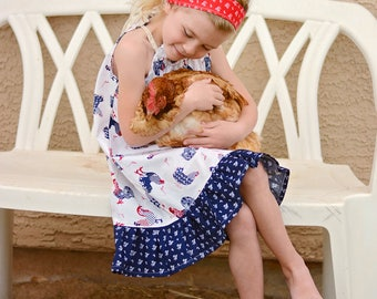 Country Farm Collection Verona Rooster Ruffle Dress  -Pillowcase style -  Available in sizes 12 mos girls size 10 infants .toddlers  girls